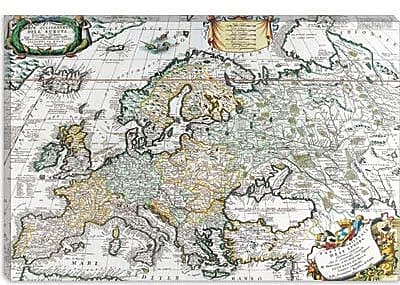 iCanvas Antique Map of Europe Graphic Art on Canvas; 12'' H x 18'' W x 1.5'' D