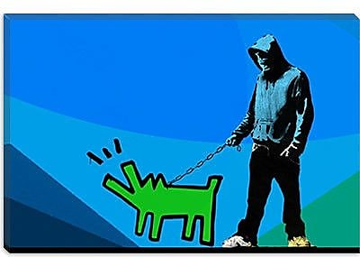 iCanvas Choose Your Weapon Keith Haring Dog lll Graphic Art on Canvas; 26'' H x 40'' W x 0.75'' D