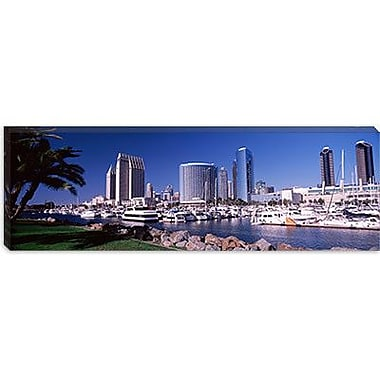 iCanvas Panoramic Boats at a Harbor, San Diego, California 2010 Photographic Print on Canvas