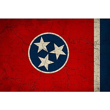 iCanvas Flags Tennessee Map Graphic Art on Wrapped Canvas; 12'' H x 18'' W x 0.75'' D