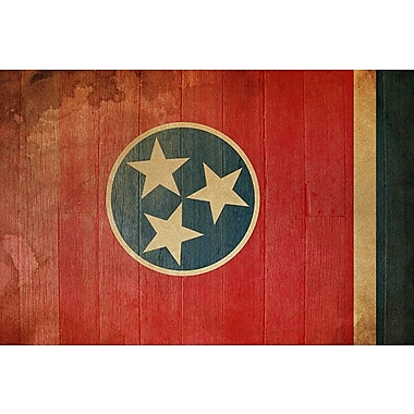 iCanvas Flags Tennessee Wood Planks with Grunge Graphic Art on Canvas; 12'' H x 18'' W x 0.75'' D