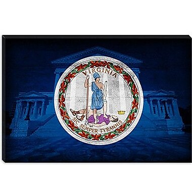 iCanvas Flags Virginia State Capitol w/ Cracks Graphic Art on Canvas; 8'' H x 12'' W x 0.75'' D