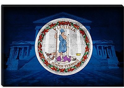 iCanvas Flags Virginia State Capitol w/ Cracks Graphic Art on Canvas; 12'' H x 18'' W x 0.75'' D