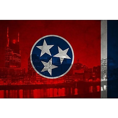 iCanvas Flags Tennessee City Skyline Graphic Art on Wrapped Canvas; 18'' H x 26'' W x 1.5'' D