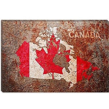 iCanvas 'Canada Flag Map' by Michael Tompsett Graphic Art on Canvas; 18'' H x 26'' W x 1.5'' D
