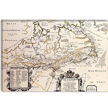 iCanvas Antique Map of Canada Graphic Art on Canvas; 12'' H x 18'' W x 0.75'' D
