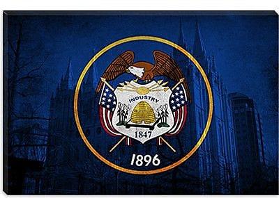 iCanvas Flags Utah Mormon Temple Graphic Art on Canvas; 12'' H x 18'' W x 1.5'' D