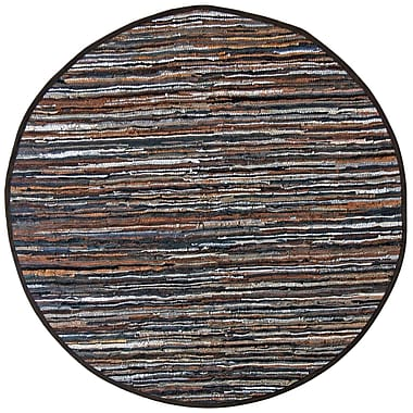 St. Croix Matador Leather Chindi Brown Area Rug; Round 8'