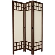 Oriental Furniture 67'' Tall Window Pane Fabric 3 Panel Room Divider; Brown
