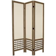 Oriental Furniture 67'' Tall Open Lattice Fabric 3 Panel Room Divider; Gray