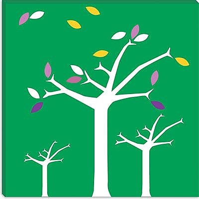 iCanvas Autumn Trees Graphic Art on Wrapped Canvas in Green; 12'' H x 12'' W x 1.5'' D