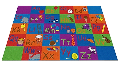 Kid Carpet All in a Row Letter Kids Rug; 4' x 6'