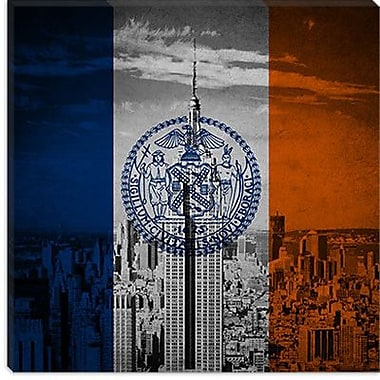 iCanvas Flags New York Empire State Building Graphic Art on Canvas; 18'' H x 18'' W x 0.75'' D