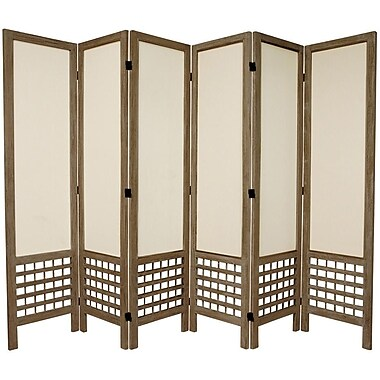 Oriental Furniture 67'' Tall Open Lattice Fabric 6 Panel Room Divider; Gray