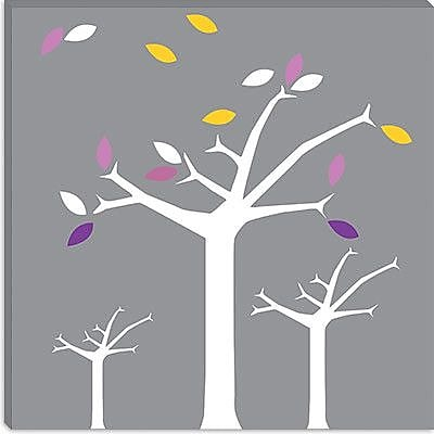 iCanvas Autumn Trees Graphic Art on Wrapped Canvas in Gray; 18'' H x 18'' W x 1.5'' D