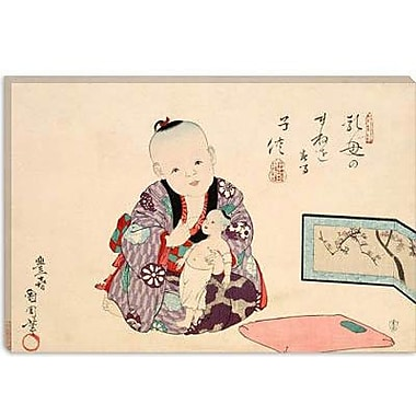 iCanvas Child Playing w/ Doll Japanese Woodblock Graphic Art on Canvas; 40'' H x 60'' W x 1.5'' D