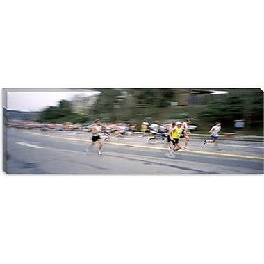 iCanvas Panoramic Boston Marathon, Wellesley, Massachusetts Photographic Print on Canvas