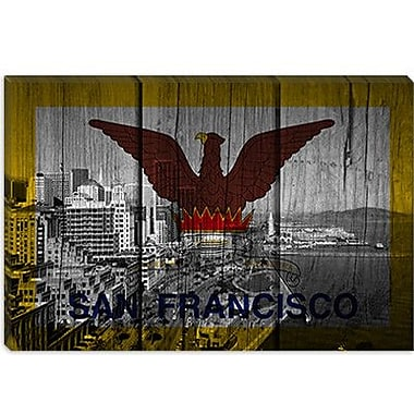 iCanvas Flags San Francisco City Skyline Graphic Art on Canvas; 18'' H x 26'' W x 0.75'' D
