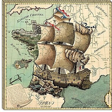iCanvas Maps and Charts Antique Map of France (1796) Graphic Art on Canvas in Brown