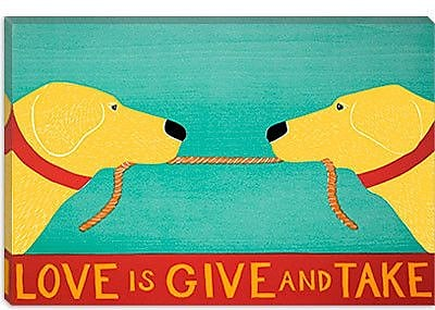 iCanvas ''Love Is'' by Stephen Huneck Graphic Art on Canvas in Blue and Yellow