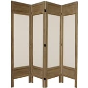 Oriental Furniture 67'' Tall Solid Frame Fabric 4 Panel Room Divider; Gray