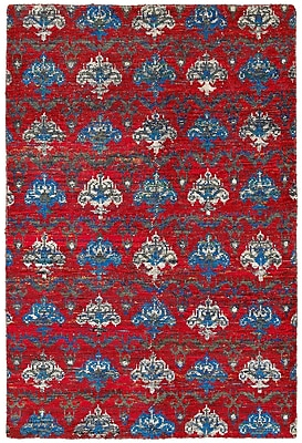 LR Resources Rajani Hand-Knotted Silk Red Area Rug; Rectangle 5'3'' x 7'5''