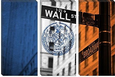iCanvas Flags New York Street and Broadway Graphic Art on Canvas; 18'' H x 26'' W x 1.5'' D