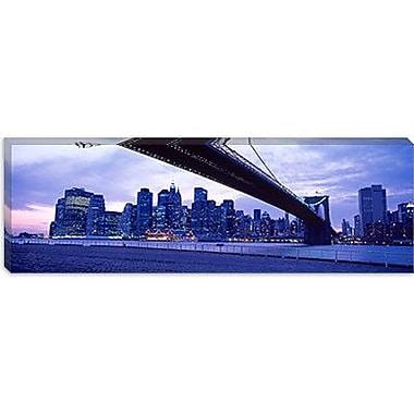 iCanvas Panoramic Brooklyn Bridge, New York Photographic Print on Canvas; 24'' H x 72'' W x 1.5'' D