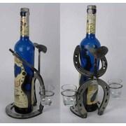 Metrotex Designs Western Heritage Horseshoe Bowlegged Cowboy 1 Bottle Tabletop Wine Rack