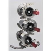 Metrotex Designs Western Heritage Horseshoe Stacked 3 Bottle Tabletop Wine Rack