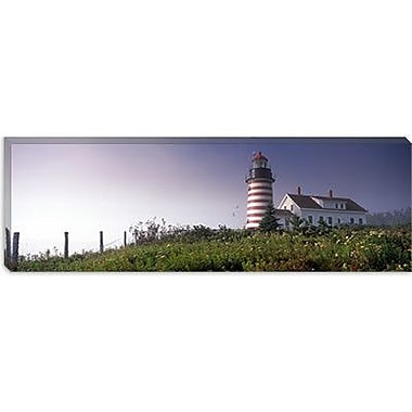 iCanvas Panoramic West Quoddy Head lighthouse, Lubec, Maine Photographic Print on Canvas