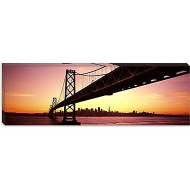 iCanvas Panoramic Bay Bridge in San Francisco, California Photographic Print on Canvas
