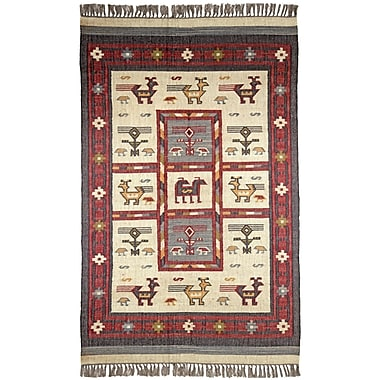St. Croix Hacienda Off-White / RedTribal Area Rug; 9' x 12'