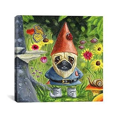 iCanvas 'Pug Gnome' by Brian Rubenacker Painting Print on Canvas; 12'' H x 12'' W x 0.75'' D