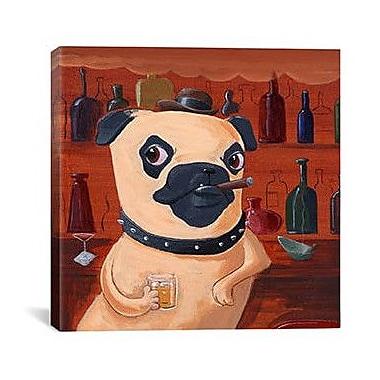 iCanvas 'Pug at Bar' by Brian Rubenacker Graphic Art on Canvas; 26'' H x 26'' W x 1.5'' D