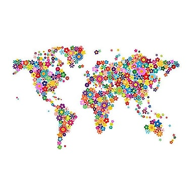 iCanvas 'Flowers World Map' by Michael Tompsett Graphic Art on Wrapped Canvas