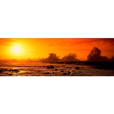 iCanvas Panoramic Waves Breaking on Rocks Photographic Print on Wrapped Canvas
