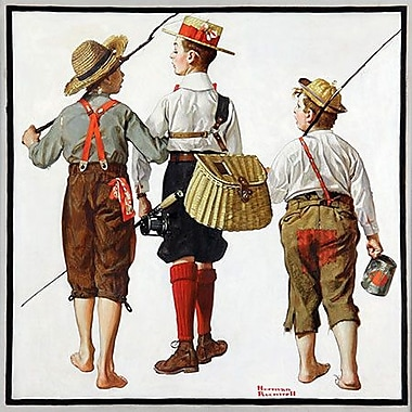iCanvas 'The Fishing Trip' by Norman Rockwell Painting Print on Canvas; 18'' H x 18'' W x 1.5'' D