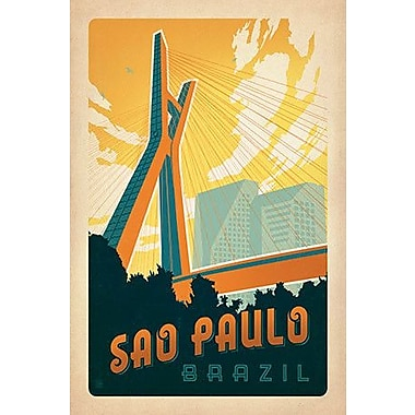 iCanvas 'Sao Paulo, Brazil' by Anderson Design Group Vintage Advertisement on Wrapped Canvas