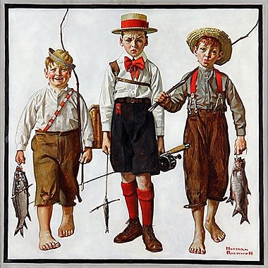 iCanvas 'The Catch' by Norman Rockwell Painting Print on Canvas; 12'' H x 12'' W x 1.5'' D