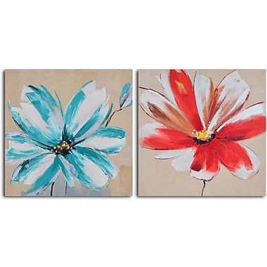 My Art Outlet Teal and Rouge Flowers' 2 Piece Painting on Wrapped Canvas Set
