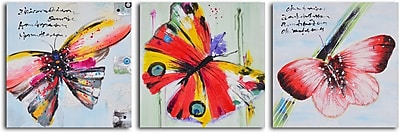 My Art Outlet Poetry of Butterfly Flight' 3 Piece Painting on Wrapped Canvas Set