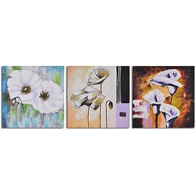 My Art Outlet Floral Niceties' 3 Piece Painting on Wrapped Canvas Set