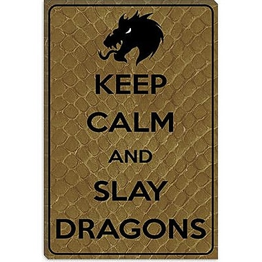 iCanvas Keep Calm and Slay Dragons Graphic Art on Canvas; 18'' H x 12'' W x 1.5'' D
