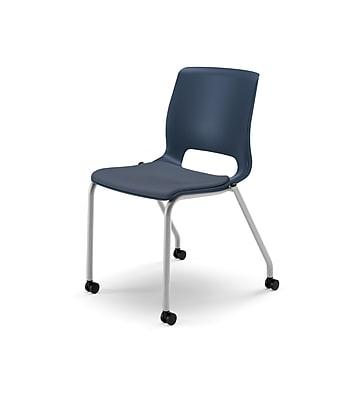 HON® Motivate® Stacking Chair, Cerulean/Platinum Metallic, 2/Carton (HONMG201CU90)