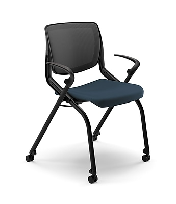 HON® Motivate™ Fabric Mid Back Nesting Stacking Chair, Cerulean Blue