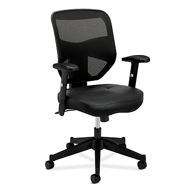 basyx by HON HVL531 HON Mesh Back Chair, Center-Tilt, Adjustable Arms, Black SofThread Leather Seat