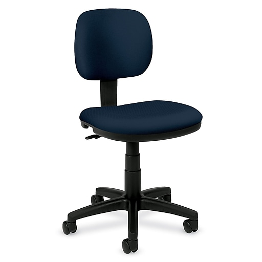 HON Light Duty Fabric Computer and Desk Office Chair, Armless, Navy (HVL610VA90.COM)