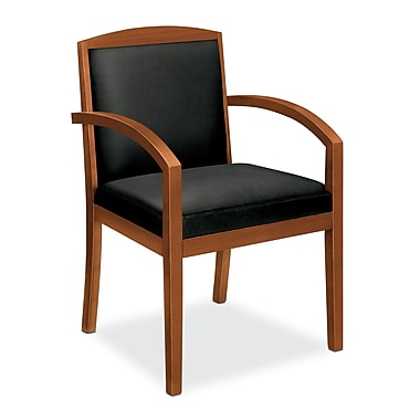 basyx by HON HVL853 Guest Chair, Wood Frame, Bourbon Cherry Finish, Black SofThread Leather