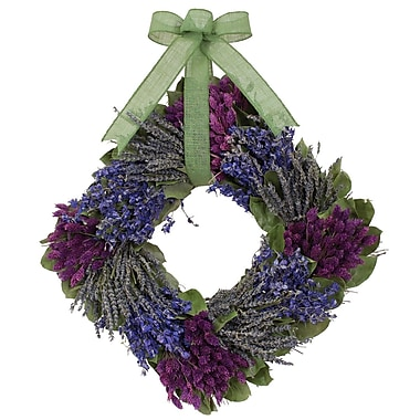 The Christmas Tree Company Lavender and Larkspur Dried Floral Square Wreath 16